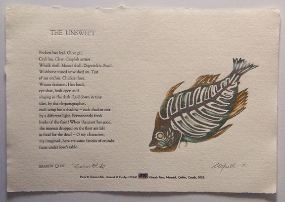 "Broadside of ""The Unswept"" by Sharon Olds"